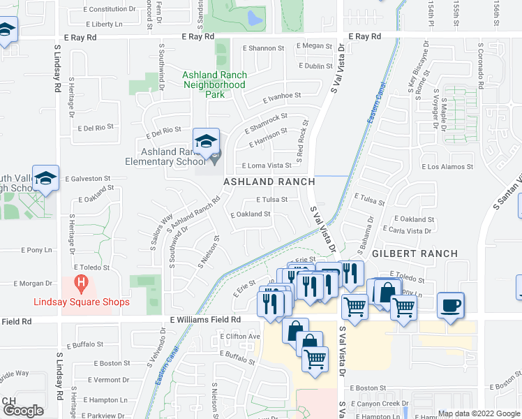 map of restaurants, bars, coffee shops, grocery stores, and more near 1432 East Oakland Street in Gilbert