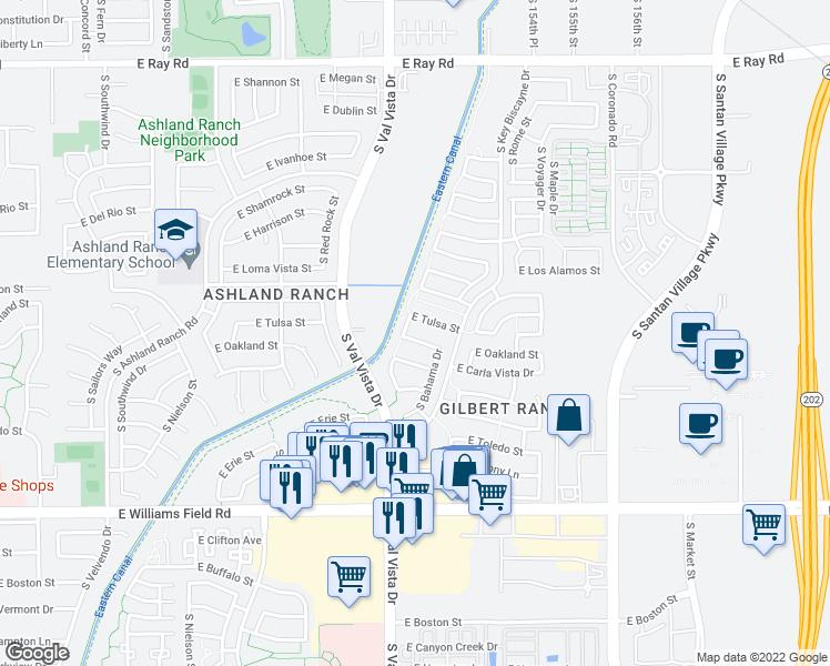 map of restaurants, bars, coffee shops, grocery stores, and more near 1644 East Oakland Street in Gilbert