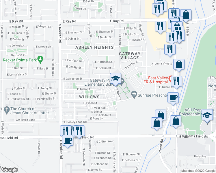 map of restaurants, bars, coffee shops, grocery stores, and more near 4325 East Milky Way in Gilbert