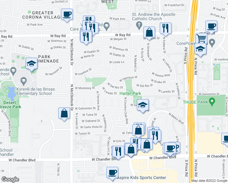 map of restaurants, bars, coffee shops, grocery stores, and more near 3628 West Laredo Street in Chandler