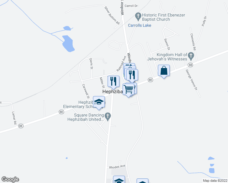 map of restaurants, bars, coffee shops, grocery stores, and more near in Hephzibah