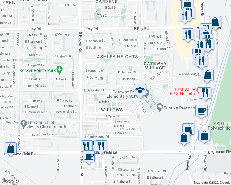 map of restaurants, bars, coffee shops, grocery stores, and more near 4218 East Milky Way in Gilbert
