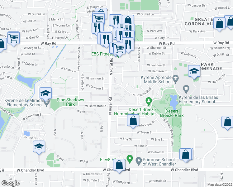 map of restaurants, bars, coffee shops, grocery stores, and more near 4909 West Joshua Boulevard in Chandler