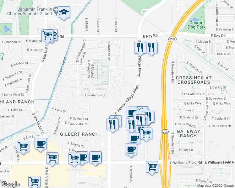 map of restaurants, bars, coffee shops, grocery stores, and more near 1800 South Coronado Road in Gilbert