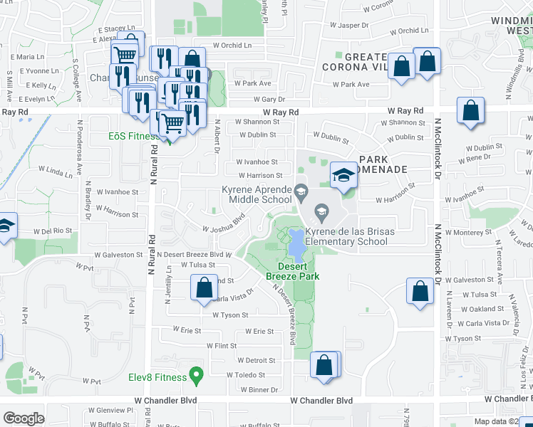 map of restaurants, bars, coffee shops, grocery stores, and more near North Stanley Place in Chandler