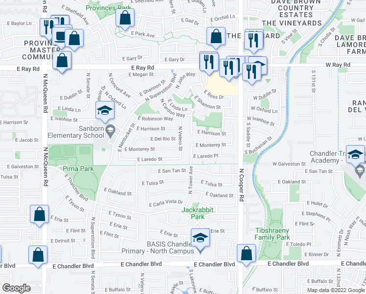 map of restaurants, bars, coffee shops, grocery stores, and more near 671 North Velero Street in Chandler