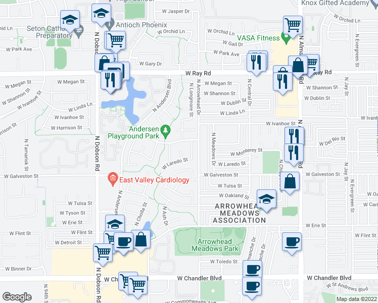 map of restaurants, bars, coffee shops, grocery stores, and more near 704 North Longmore Street in Chandler