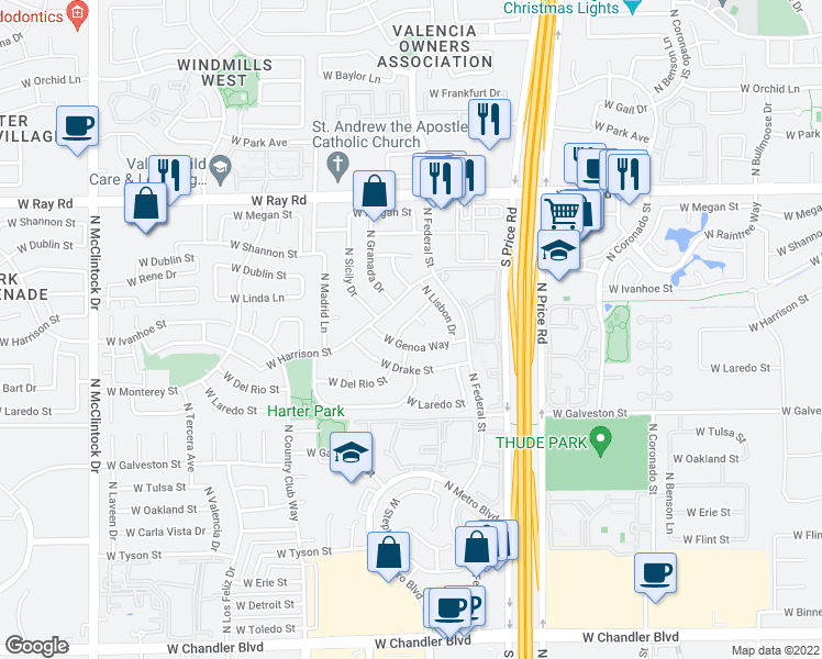 map of restaurants, bars, coffee shops, grocery stores, and more near 3303 West Venice Way in Chandler