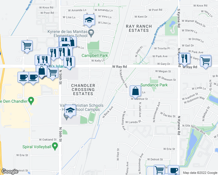 map of restaurants, bars, coffee shops, grocery stores, and more near 6590 West Linda Court in Chandler