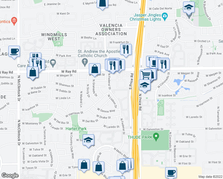 map of restaurants, bars, coffee shops, grocery stores, and more near 3261 West Shannon Place in Chandler