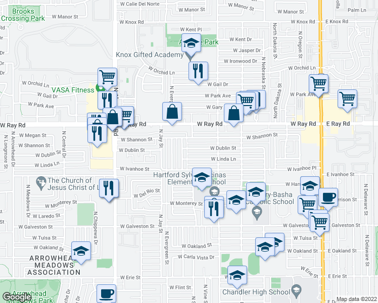 map of restaurants, bars, coffee shops, grocery stores, and more near 715 West Dublin Street in Chandler