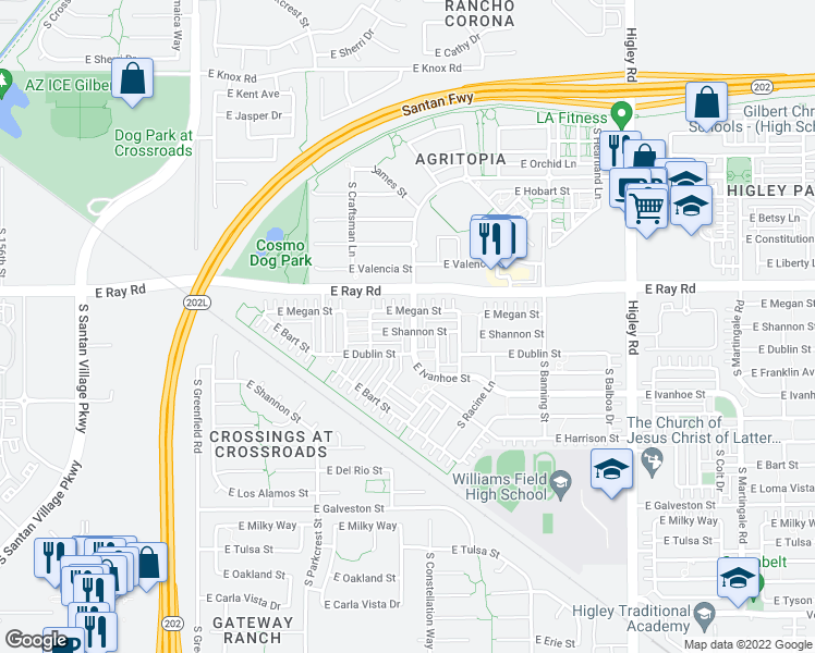 map of restaurants, bars, coffee shops, grocery stores, and more near 1674 South Constellation Way in Gilbert