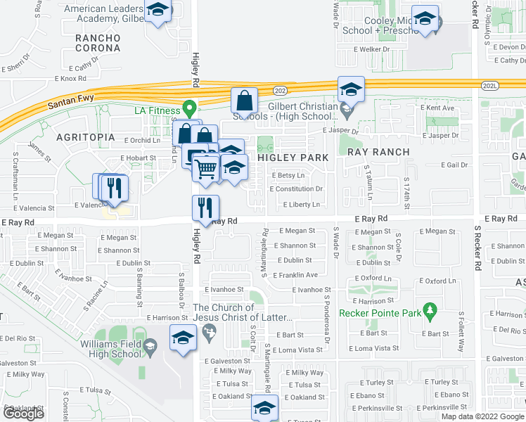 map of restaurants, bars, coffee shops, grocery stores, and more near 3389 East Liberty Lane in Gilbert