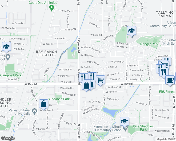 map of restaurants, bars, coffee shops, grocery stores, and more near 5930 West Park Avenue in Chandler