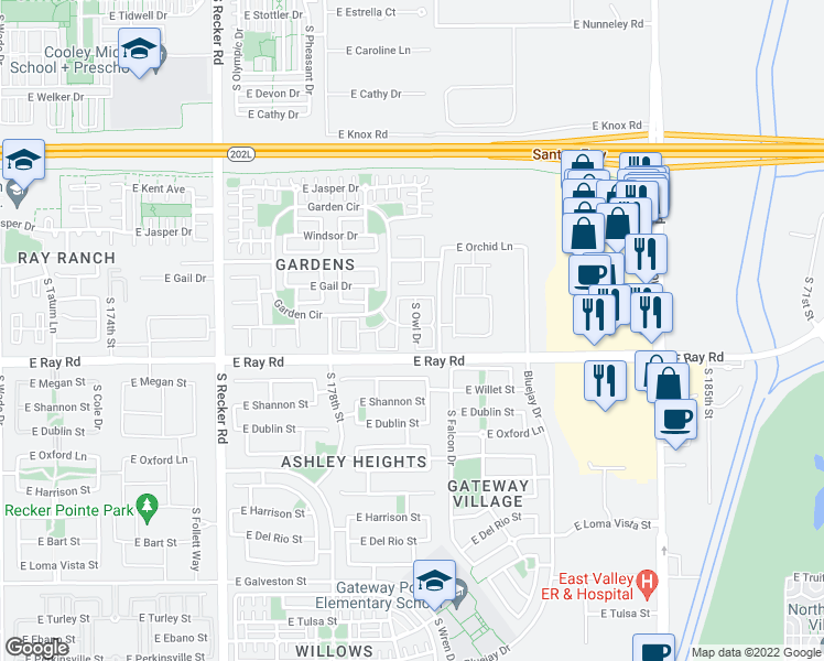 map of restaurants, bars, coffee shops, grocery stores, and more near 1544 South Owl Drive in Gilbert