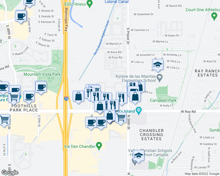 map of restaurants, bars, coffee shops, grocery stores, and more near 1100 North Priest Drive in Chandler