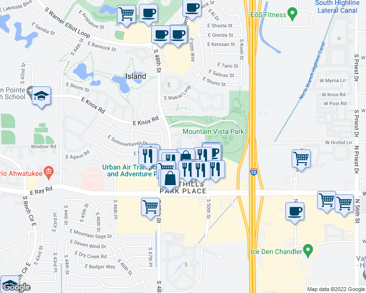 map of restaurants, bars, coffee shops, grocery stores, and more near 13625 South 48th Street in Phoenix