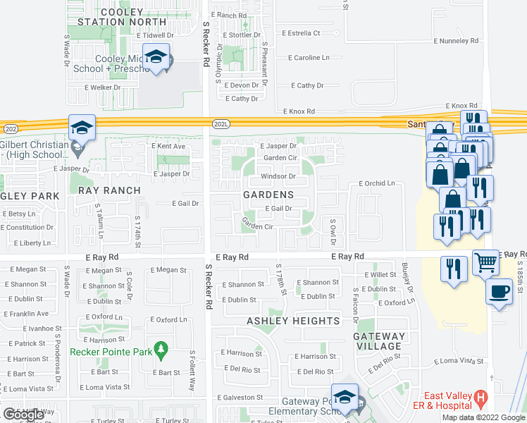 map of restaurants, bars, coffee shops, grocery stores, and more near 4155 East Gail Drive in Gilbert