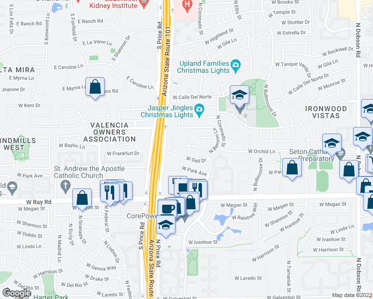 map of restaurants, bars, coffee shops, grocery stores, and more near 1190 North Spire Drive in Chandler