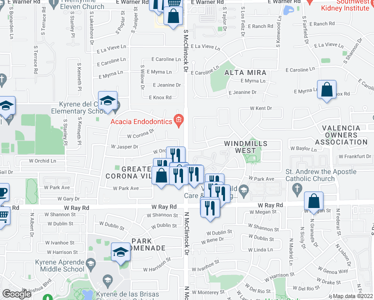 map of restaurants, bars, coffee shops, grocery stores, and more near N McClintock Dr & W Windmills Blvd in Chandler