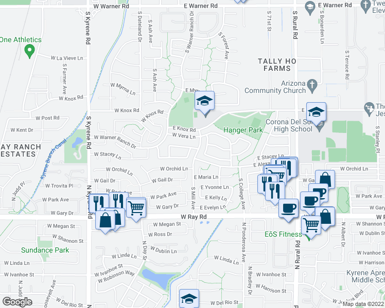 map of restaurants, bars, coffee shops, grocery stores, and more near 9623 South Maple Avenue in Tempe