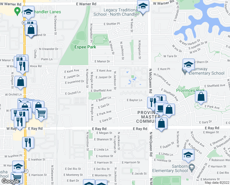 map of restaurants, bars, coffee shops, grocery stores, and more near 765 East Sheffield Avenue in Chandler