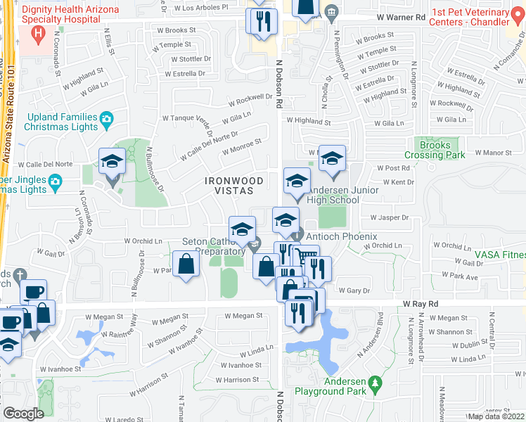 map of restaurants, bars, coffee shops, grocery stores, and more near 2039 West Corona Drive in Chandler