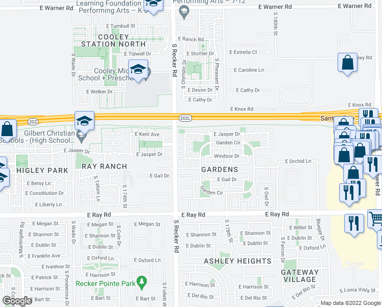 map of restaurants, bars, coffee shops, grocery stores, and more near 4060 East Windsor Drive in Gilbert