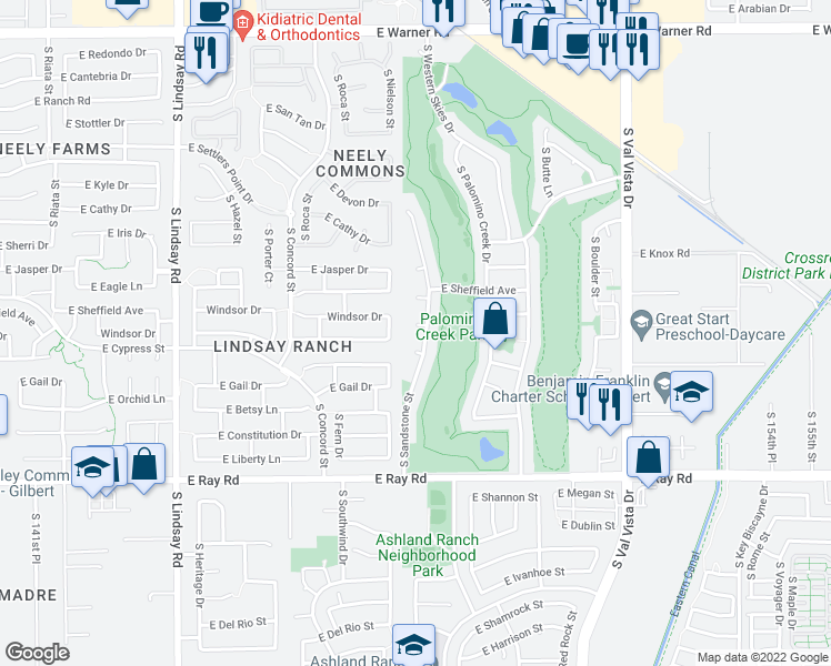 map of restaurants, bars, coffee shops, grocery stores, and more near 1231 East Baylor Court in Gilbert