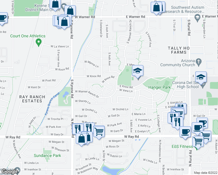 map of restaurants, bars, coffee shops, grocery stores, and more near 172 West Vera Lane in Tempe