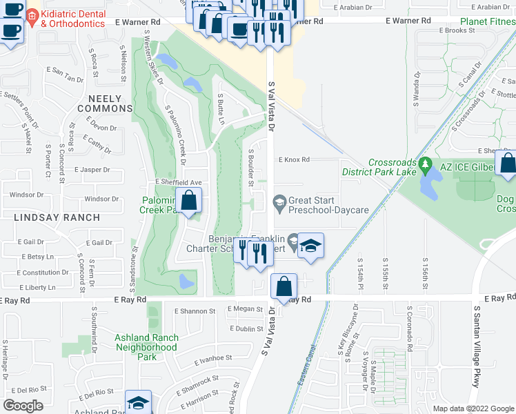 map of restaurants, bars, coffee shops, grocery stores, and more near 1330 South Red Rock Street in Gilbert
