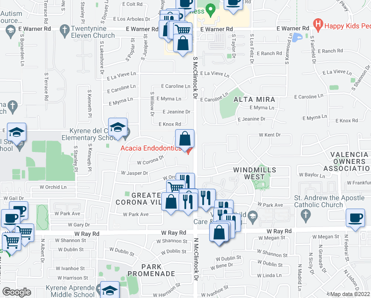 map of restaurants, bars, coffee shops, grocery stores, and more near 4061 West Post Road in Chandler