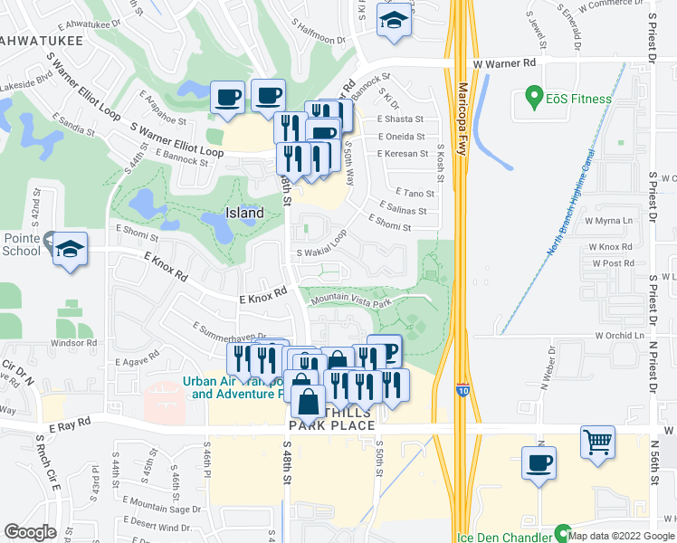 map of restaurants, bars, coffee shops, grocery stores, and more near 13229 South 48th Street in Phoenix