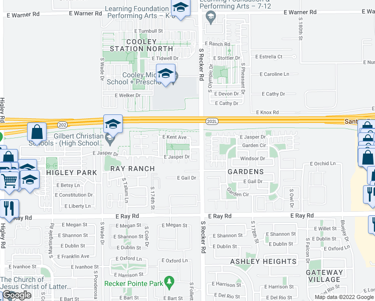map of restaurants, bars, coffee shops, grocery stores, and more near 3938 East Jasper Drive in Gilbert