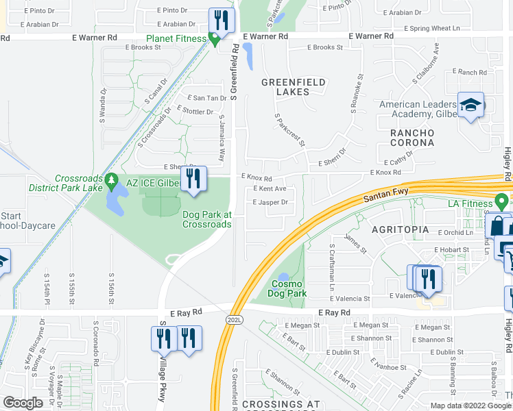 map of restaurants, bars, coffee shops, grocery stores, and more near 2471 East Jasper Drive in Gilbert