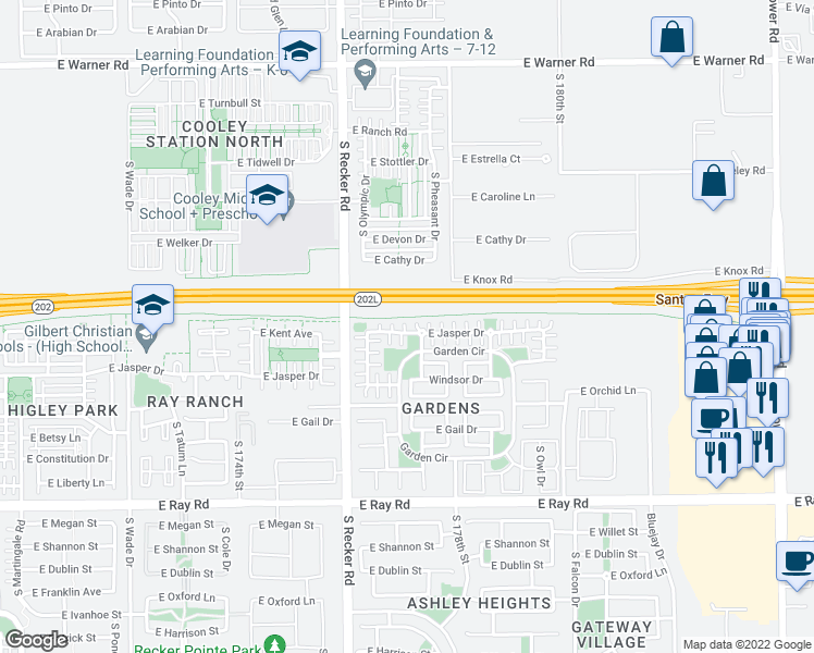 map of restaurants, bars, coffee shops, grocery stores, and more near 4106 East Jasper Drive in Gilbert