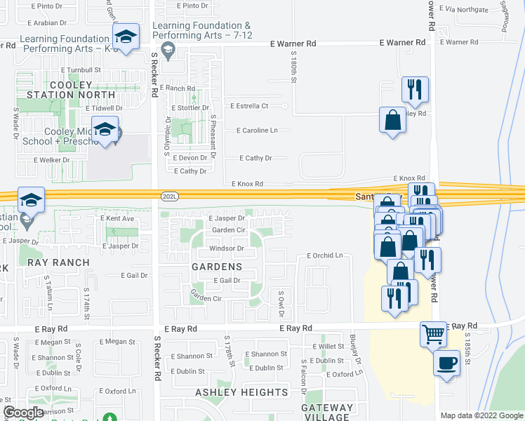 map of restaurants, bars, coffee shops, grocery stores, and more near 4302 East Jasper Drive in Gilbert