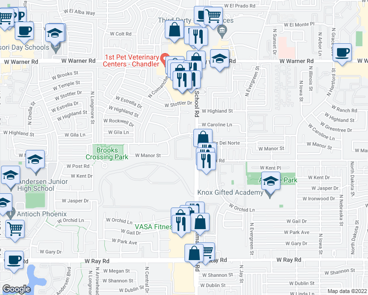 map of restaurants, bars, coffee shops, grocery stores, and more near 1400 North Alma School Road in Chandler
