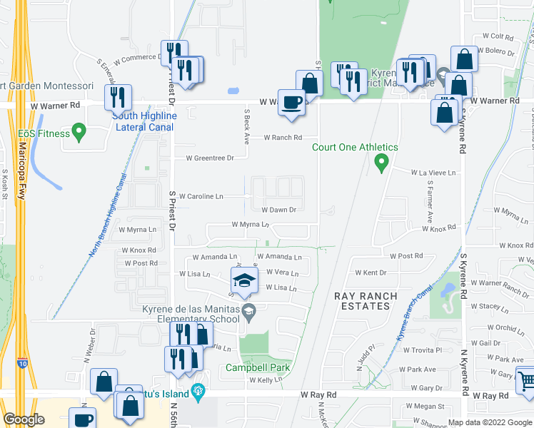 map of restaurants, bars, coffee shops, grocery stores, and more near 1141 West Dawn Drive in Tempe