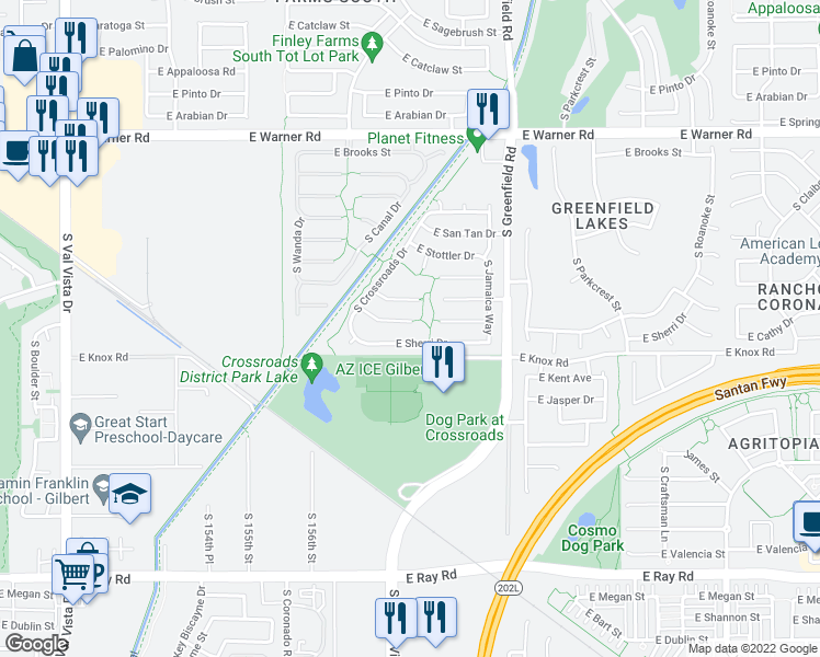 map of restaurants, bars, coffee shops, grocery stores, and more near 2227 East Cathy Court in Gilbert