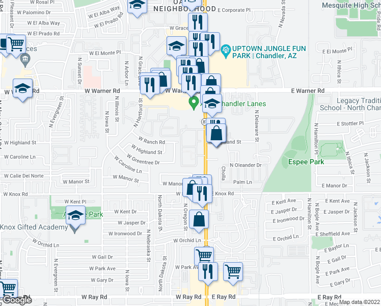 map of restaurants, bars, coffee shops, grocery stores, and more near 1600 North Arizona Avenue in Chandler