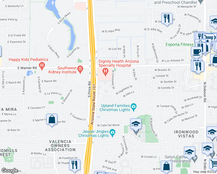 map of restaurants, bars, coffee shops, grocery stores, and more near 2900 West Highland Street in Chandler