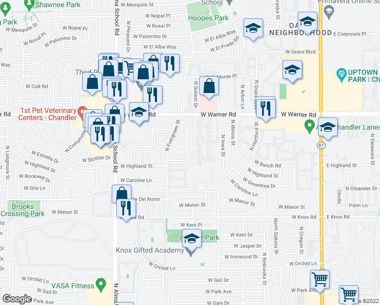 map of restaurants, bars, coffee shops, grocery stores, and more near 1807 North Cheri Lynn Drive in Chandler