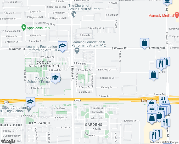 map of restaurants, bars, coffee shops, grocery stores, and more near 988 South Deerfield Lane in Gilbert