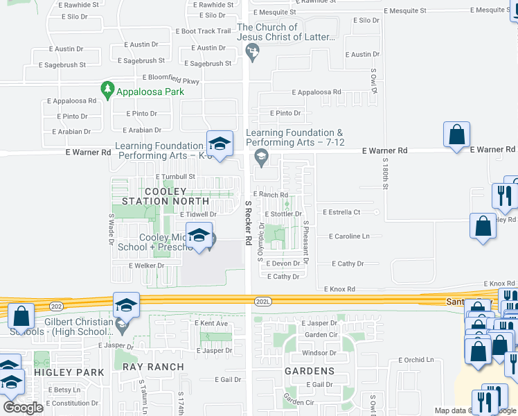 map of restaurants, bars, coffee shops, grocery stores, and more near 962 South Olympic Drive in Gilbert