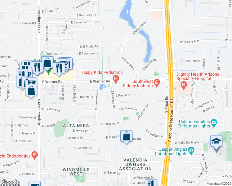 map of restaurants, bars, coffee shops, grocery stores, and more near 2020 East Ranch Road in Tempe