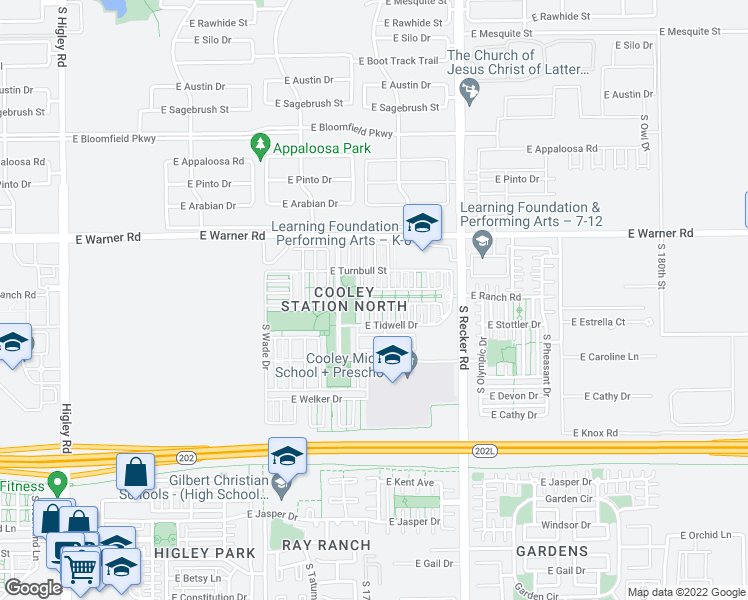 map of restaurants, bars, coffee shops, grocery stores, and more near 3826 East Leslie Drive in Gilbert