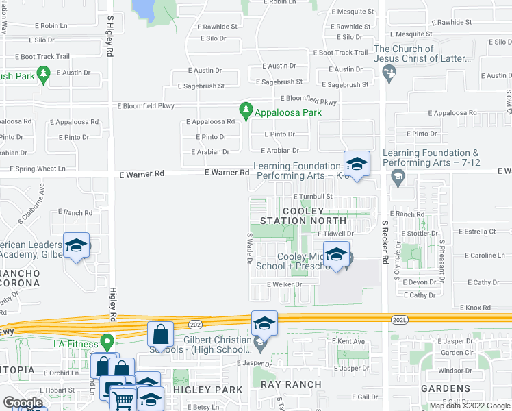 map of restaurants, bars, coffee shops, grocery stores, and more near 3627 East Horace Drive in Gilbert