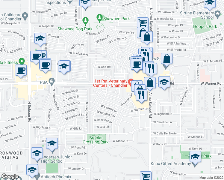 map of restaurants, bars, coffee shops, grocery stores, and more near 1319 West Brooks Street in Chandler
