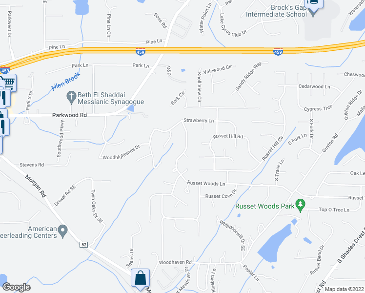 map of restaurants, bars, coffee shops, grocery stores, and more near 1846 Russet Woods Ln in Hoover